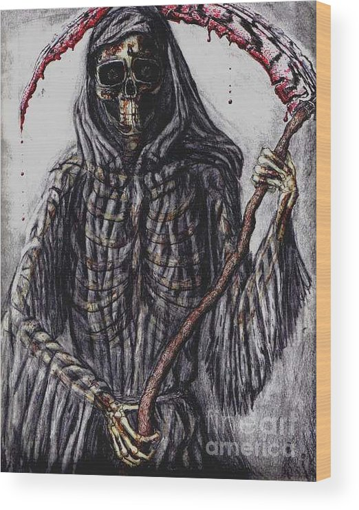 Grim Reaper Wood Print featuring the drawing Grim Reaper Colored by Katie Alfonsi