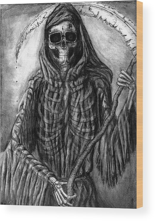 Grim Reaper Wood Print featuring the drawing Grim Reaper by Katie Alfonsi