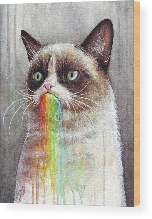 Grumpy Cat Wood Print featuring the painting Grumpy Cat Tastes The Rainbow by Olga Shvartsur