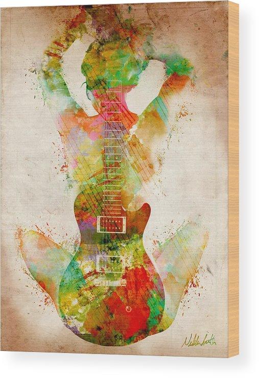 Guitar Wood Print featuring the digital art Guitar Siren by Nikki Smith