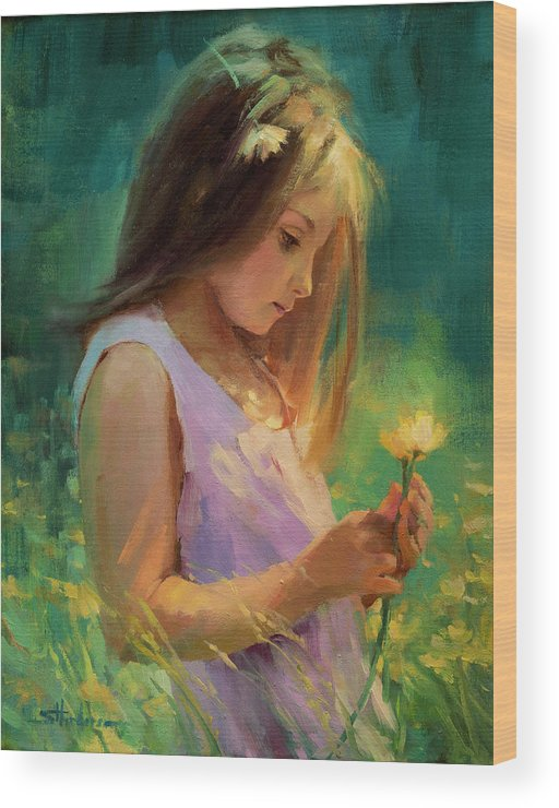 Girl Wood Print featuring the painting Hailey by Steve Henderson