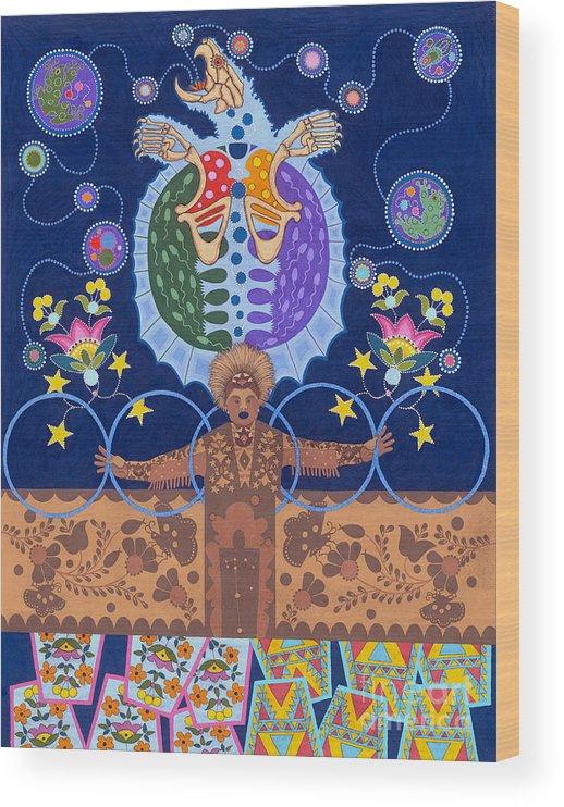 Native American Wood Print featuring the painting Healing - nanatawihowin by Chholing Taha