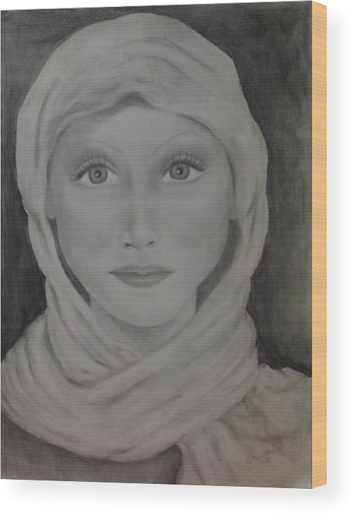 Portrait Wood Print featuring the drawing Her by Jennifer Hernandez