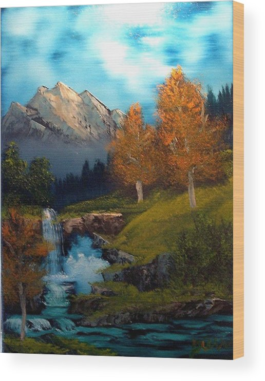 Landscape Wood Print featuring the painting Hidden Falls by Dina Sierra