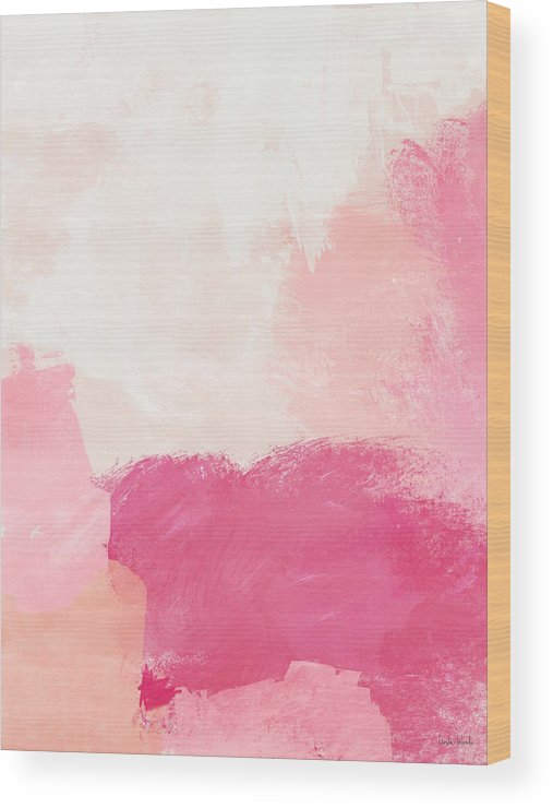 Abstract Wood Print featuring the mixed media History of Pink- Abstract Art by Linda Woods by Linda Woods
