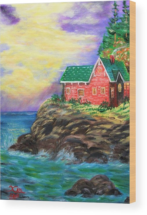 Seascape Wood Print featuring the painting House by the sea by Kenneth LePoidevin