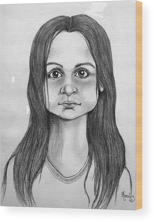 Portrait Wood Print featuring the drawing Immigrant Girl by Marco Morales