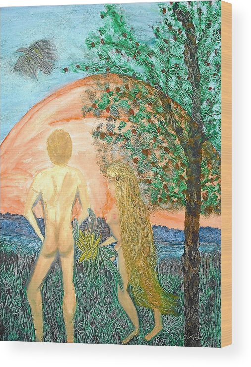 Creation Wood Print featuring the painting In the Garden by BJ Abrams