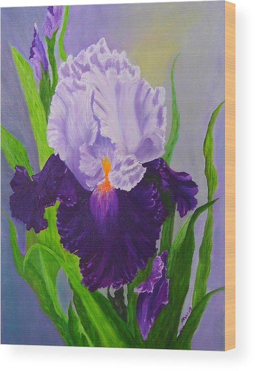 Floral Painting Wood Print featuring the painting Iris by Peggy Holcroft