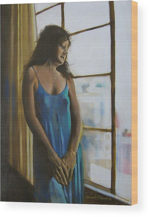 View From The 4th Floor Wood Print featuring the painting Jeanette by Howard Stroman