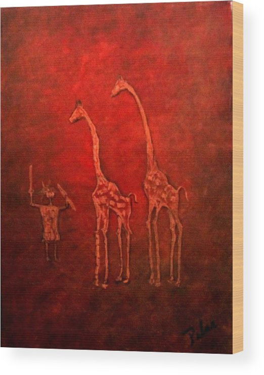 Wood Print featuring the painting Jiraffes by Pilar Martinez-Byrne