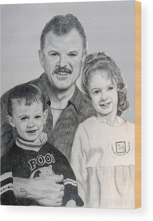 Portrait Wood Print featuring the drawing John Megan and Joey by Stan Hamilton