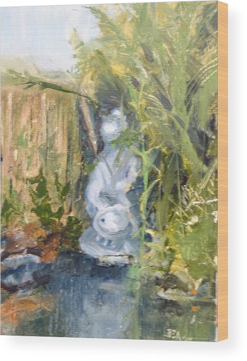 Still-life. Pond Koi Wood Print featuring the painting Koi Pond by Bryan Alexander