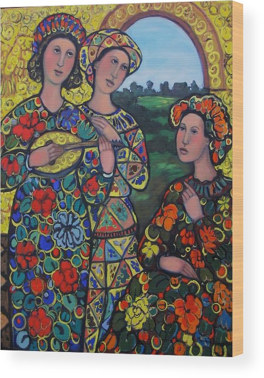 Arlequin Wood Print featuring the painting Ladies And The Arlequin by Marilene Sawaf