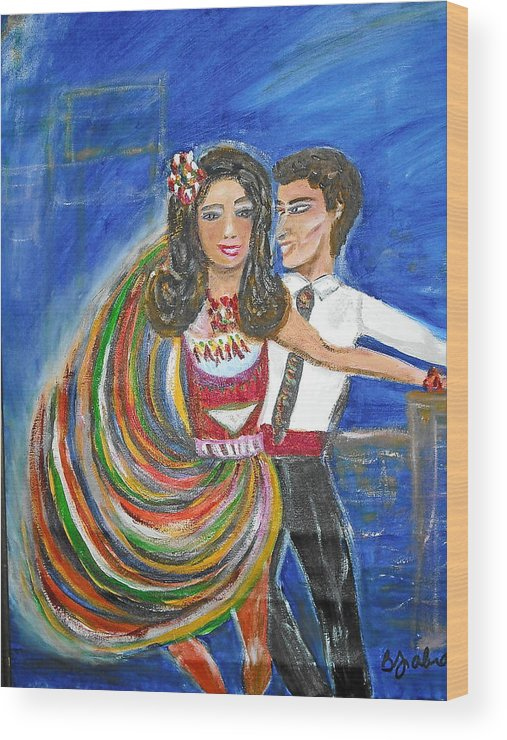 Dancers Wood Print featuring the painting Latin Dancers 11 by BJ Abrams