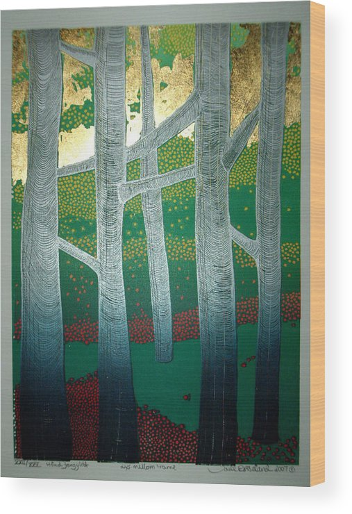 Landscape Wood Print featuring the mixed media Light between the trees by Jarle Rosseland