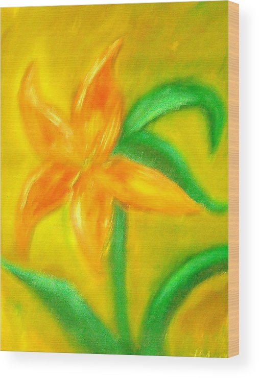 Flower Wood Print featuring the painting Lilly by BJ Abrams