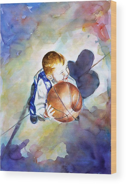 Watercolor Wood Print featuring the painting Loves the Game by Shannon Grissom
