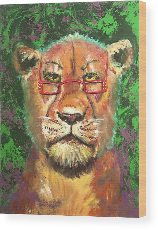 Lion Wood Print featuring the painting Madam Lion by Peter Bonk