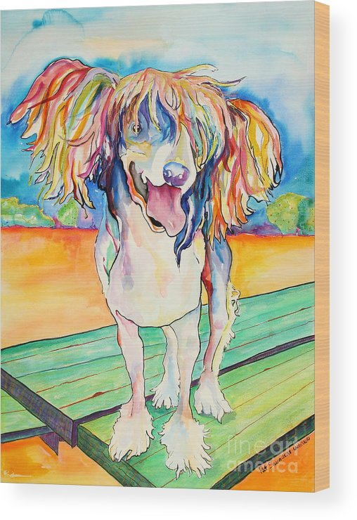 Chinese Crested Wood Print featuring the painting Mango Salsa by Pat Saunders-White