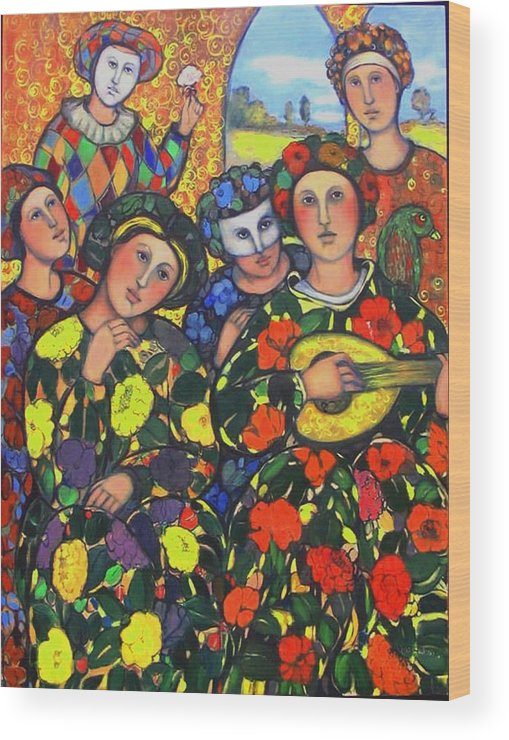Wood Print featuring the painting Mardis Gras by Marilene Sawaf