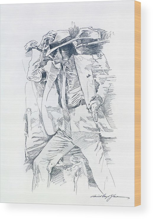 Michael Jackson Wood Print featuring the drawing Michael Smooth Criminal II by David Lloyd Glover