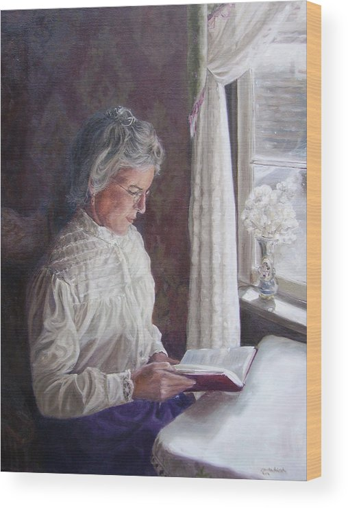 Barkerville Wood Print featuring the painting Miss Wendle-Barkerville by Tahirih Goffic