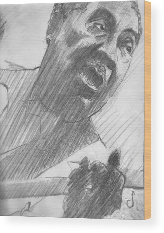 Drawing Wood Print featuring the drawing Mojo Man by Michael Facey