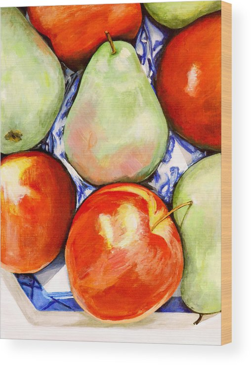 Apples Wood Print featuring the painting Morning Pears and Apples by Mary Chant