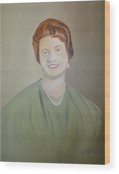 Portrait Wood Print featuring the painting Ms. Bryant by Angelo Thomas