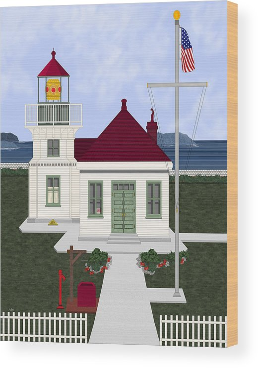 Lighthouse Wood Print featuring the painting Mukilteo Light by Anne Norskog