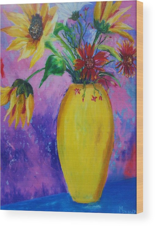 Sunflowers Wood Print featuring the painting My Flowers by Melinda Etzold