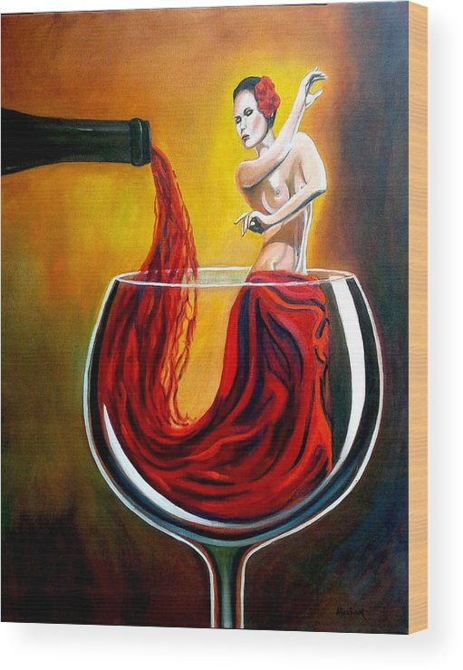 Wine Wood Print featuring the painting My Wine Lady by Jose Manuel Abraham