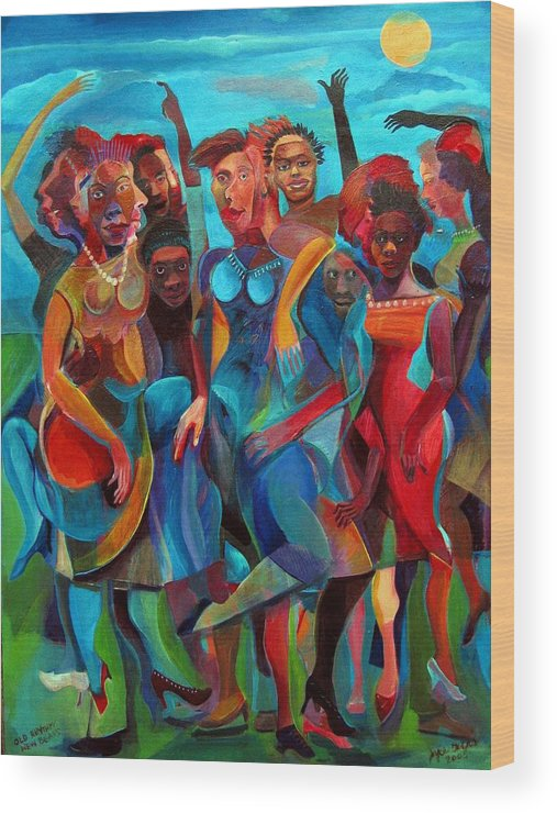 Figures Wood Print featuring the painting Old Rhythms New Beats by Joyce Owens