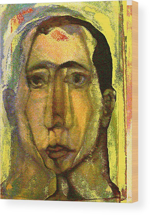 Self Portrait Wood Print featuring the painting Outside the line by Noredin Morgan