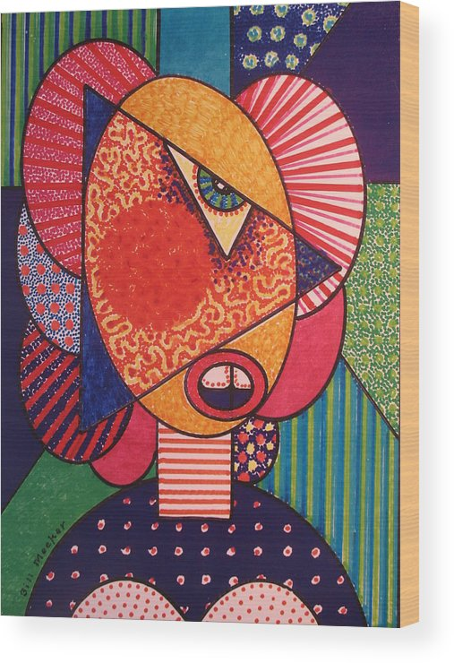 Cubissm Wood Print featuring the painting Painted Woman by Bill Meeker