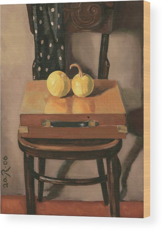 Still-life Chest Chair Brown Yellow Reflection Cucurbit Wood Print featuring the painting Painters Chest by Raimonda Jatkeviciute-Kasparaviciene