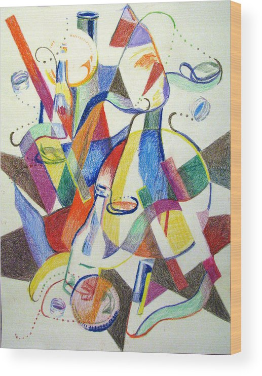 Cubism Wood Print featuring the painting Party Bottles by Art Nomad Sandra Hansen