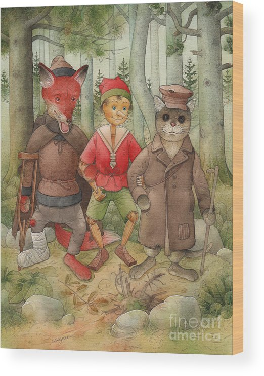 Cat Fox Forest Landscape Green Red Wood Print featuring the painting Pinocchio01 by Kestutis Kasparavicius
