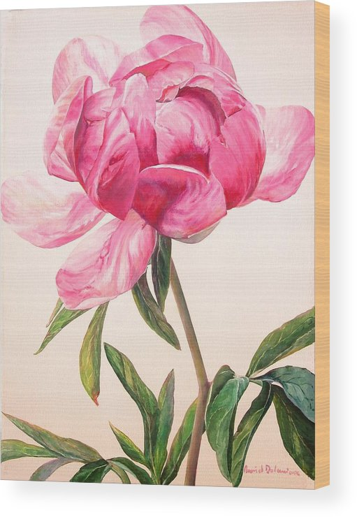Floral Painting Wood Print featuring the painting Pivoine 1 by Muriel Dolemieux