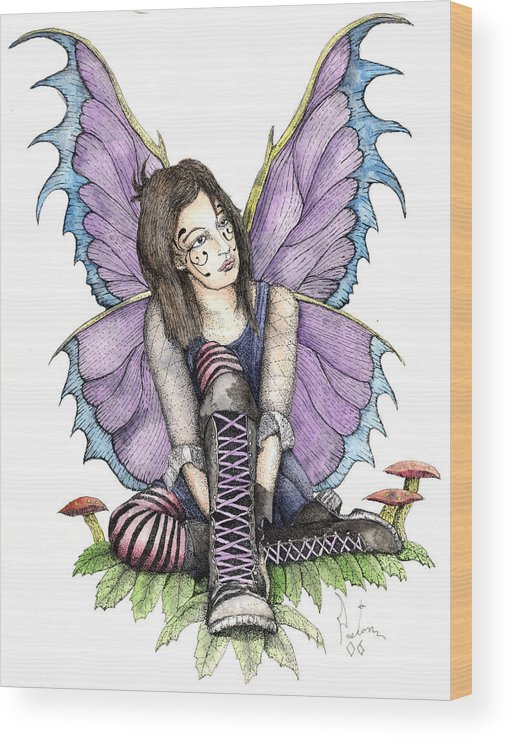 Gothic Fairy Wood Print featuring the painting Purple Laces by Preston Shupp