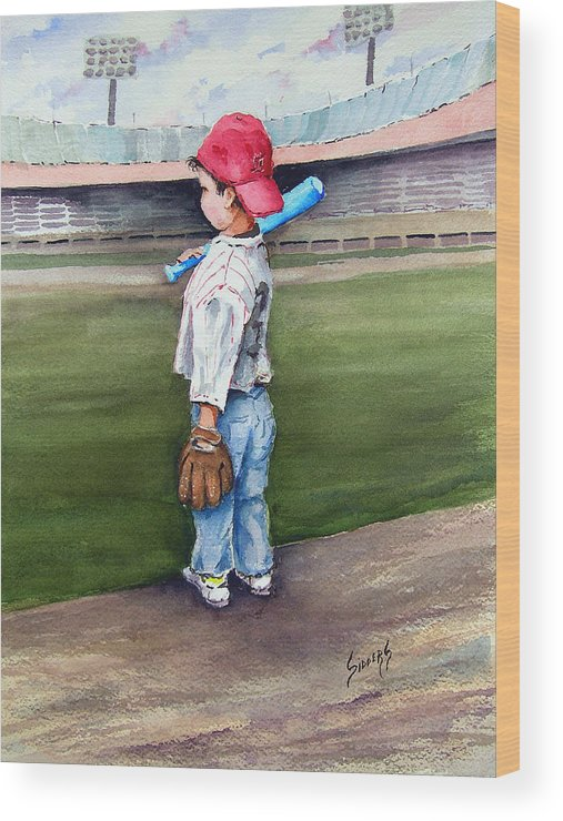 Baseball Wood Print featuring the painting Put Me In Coach by Sam Sidders