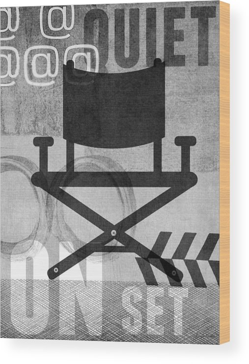 Movie Wood Print featuring the digital art Quiet On Set- Art by Linda Woods by Linda Woods