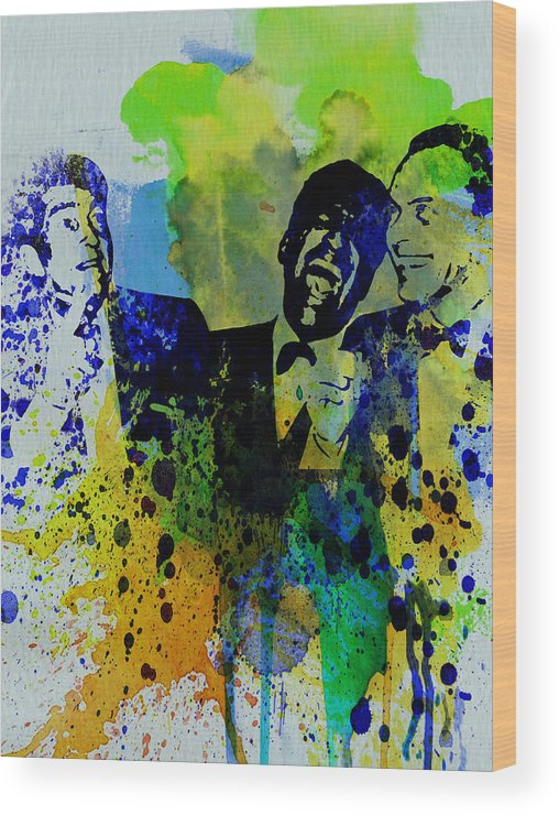 Frank Sinatra Wood Print featuring the painting Rat Pack by Naxart Studio