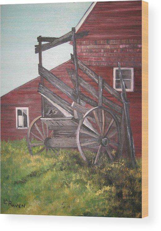 Landscape Wood Print featuring the painting Red Barn and Cattle Ramp by L A Raven