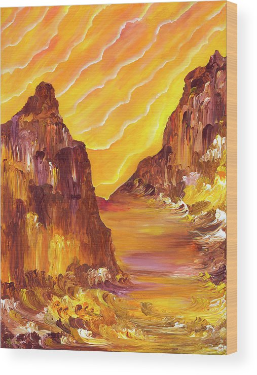 Red Rocks Wood Print featuring the painting Red Rock Light II by Lily Nava