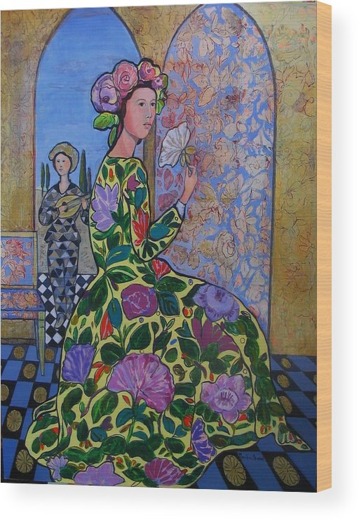 Remembering The Flower Door Wood Print featuring the painting Remembering The Flower Door by Marilene Sawaf