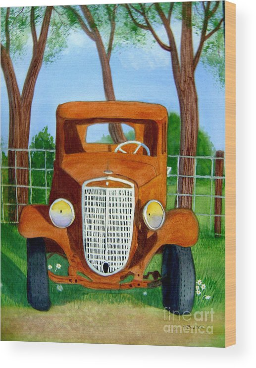 Car Wood Print featuring the painting Retired by Teresa Boston