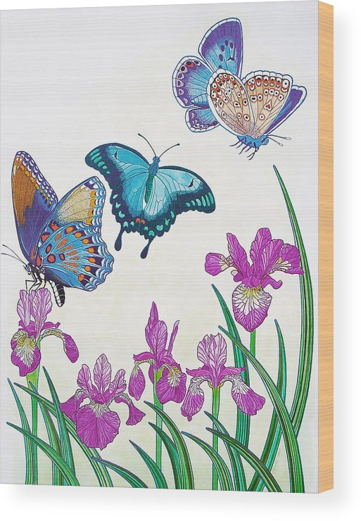 Butterflies Wood Print featuring the painting Rhapsody in Blue by Vlasta Smola