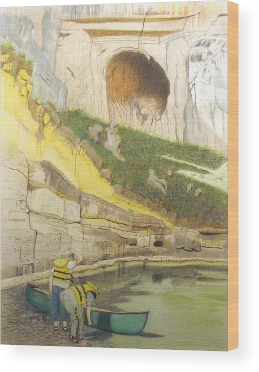 River Wood Print featuring the painting River Adventure by Myrna Salaun